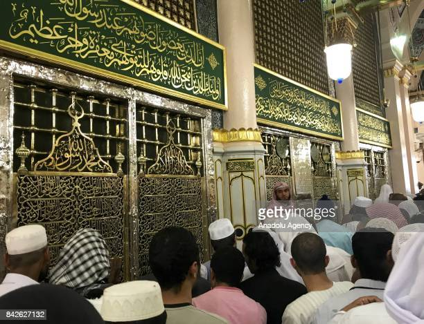 Pilgrims visit the Masjid alNabawi the mosque where hosts Holy Prophet Muhammad's tomb on the fourth day of Eid AlAdha in Medina Saudi Arabia on...