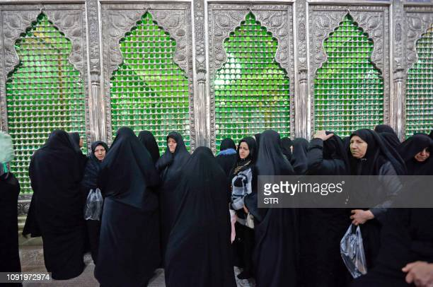 Pilgrims visit the tomb of Iran's late founder of the Islamic Republic, Ayatollah Ruhollah Khomeini, on the occasion of 40th anniversary of...