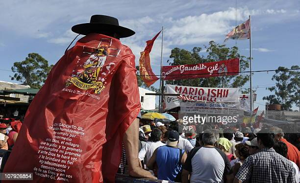 Pilgrims wait to get into the sanctuary of Gauchito Gil in Mercedes in the Argentine province of Corrientes on January 7 2011 Gauchito Gil was shot...