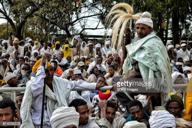 Pilgrims waiting for prayer in Lalibela During the first days of January thousands of Ethiopian Orthodox Christian pilgrims go to the city of...