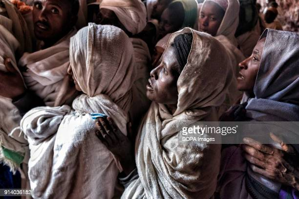 Pilgrims waiting to enter one of the churches in Lalibela During the first days of January thousands of Ethiopian Orthodox Christian pilgrims go to...
