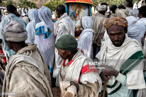 Pilgrims waiting to enter the Biete Giyorgis During the first days of January thousands of Ethiopian Orthodox Christian pilgrims go to the city of...