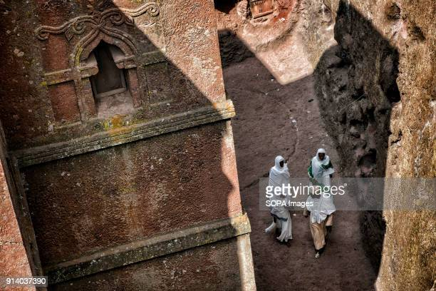 Pilgrims walking around the Biete Giyorgis During the first days of January thousands of Ethiopian Orthodox Christian pilgrims go to the city of...