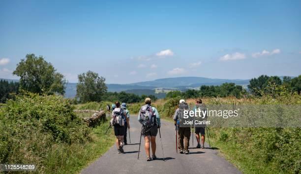 pilgrims walking the camino de santiago - cammino di santiago di compostella foto e immagini stock