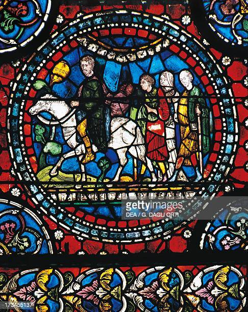 Pilgrims who travel to Canterbury choir window Canterbury Cathedral England United Kingdom