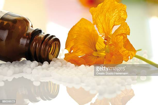 Pill bottle with pills in front of  nasturtium (Tropaeolum), close-up