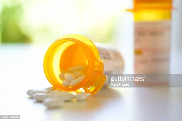 Pill bottles on table