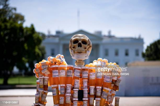 Pill Man a skeleton made from Frank Huntley's oxycontin and methadone prescription bottles is seen on Pennsylvania Avenue in front of the White House...