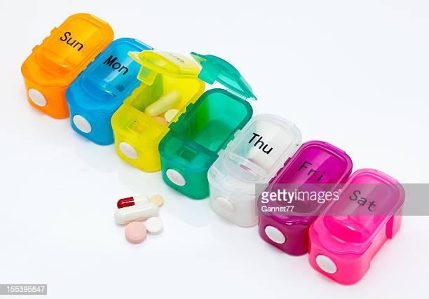 Pilulier avec les tablettes et de capsules