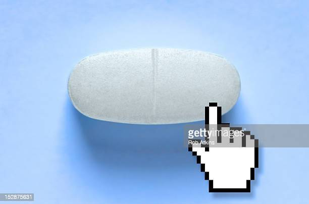pill with hand cursor - cursor stock pictures, royalty-free photos & images
