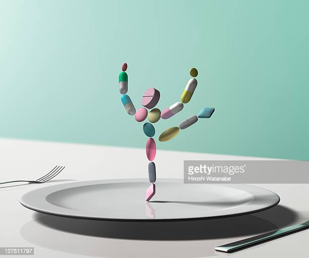 Pill woman dancing on the dish