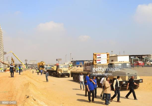Pillar of Merneptah son of Ramesses II is being transported by Ministry of State for Antiquities to Grand Egyptian Museum in Giza Egypt on March 10...