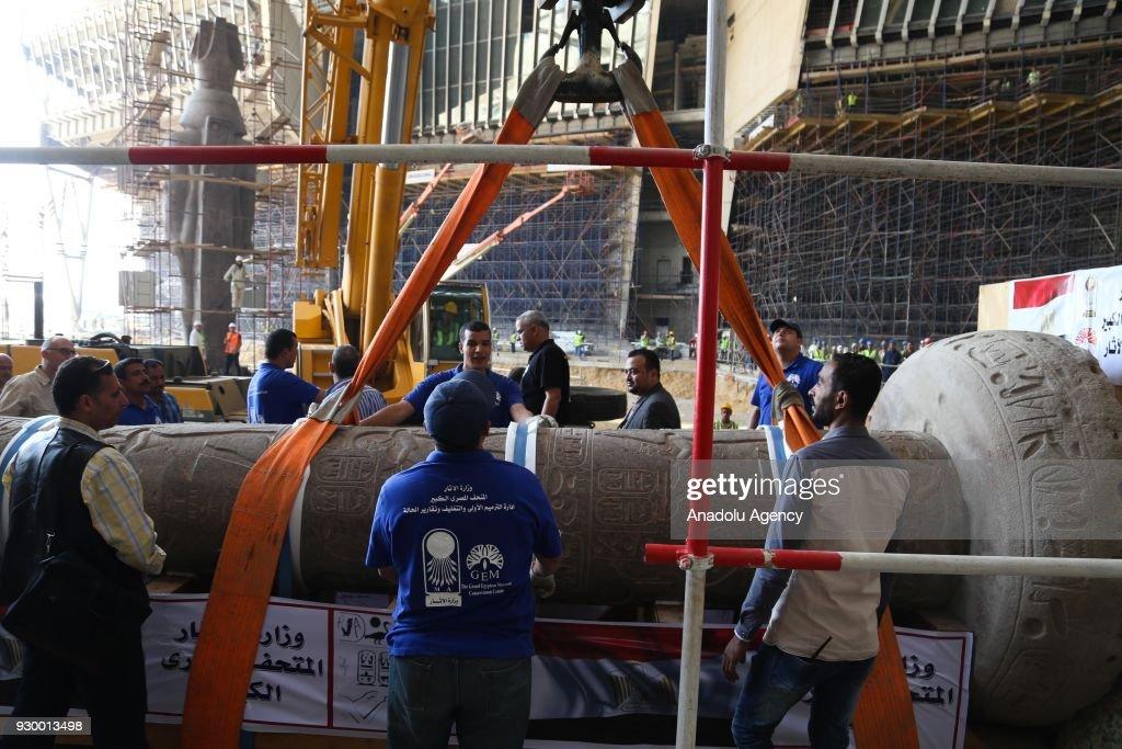 Pillar of Merneptah's transportation to Grand Egyptian Museum : News Photo
