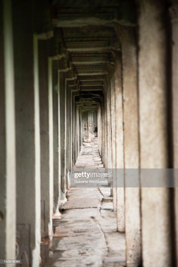 Pillars in Angkor Wat temple : Stock Photo