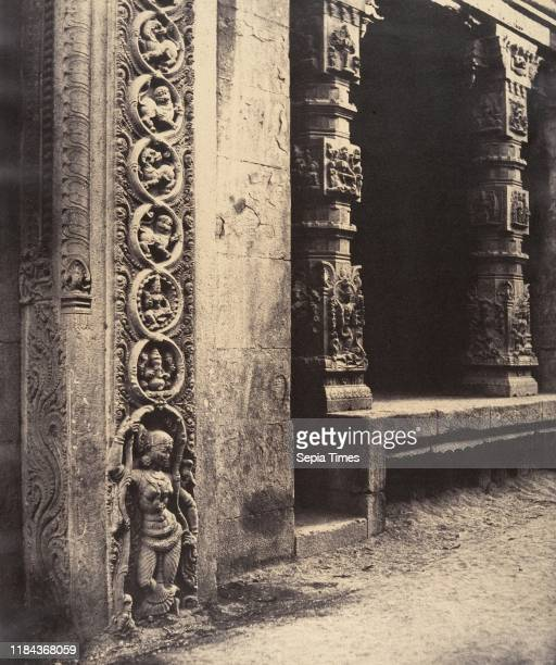 Pillars in the Recessed Portico in the Roya Gopuram with the Base of One of the Four Sculptured Monoliths, Madura, January-March 1858, Albumen silver...