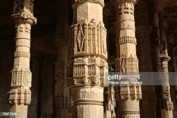 Pillars of of Adhai-din-ka-jhonpra mosque (known as the 2 1/2 day shed relating to the legend that it was built in 2 1/2 days), Ajmer, Rajasthan. India.