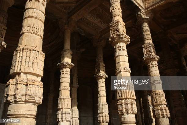 Pillars of of Adhaidinkajhonpra mosque Ajmer Rajasthan India
