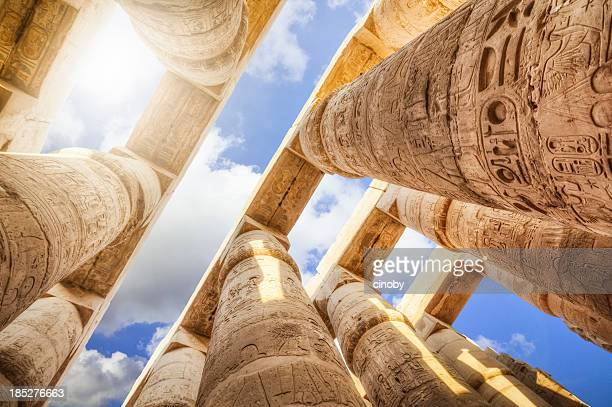 pillars of the great hypostyle hall from karnak temple - egypt stock pictures, royalty-free photos & images