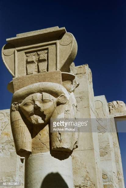 Pillars with capitals depicting the goddess Hathor outside the Chapel of Hathor at the Mortuary Temple of Hatshepsut at Deir el Bahari Egypt circa...