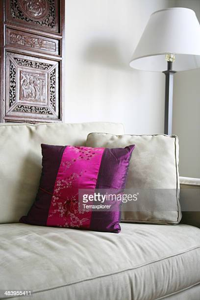 pillow cushions on sofa - cushion stock photos and pictures