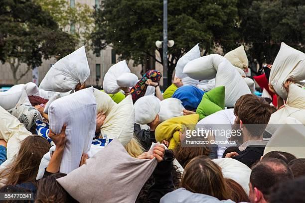 Pillow Fight flashmob in Barcelona