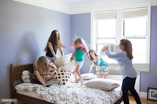 Pillow fight with mother and 4 daughters