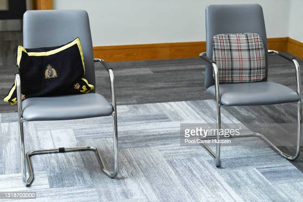 Pillows are laid out on the chairs for Prince Charles, Prince of Wales and Camilla, Duchess of Cornwall at the Education Authority Headquarters on...