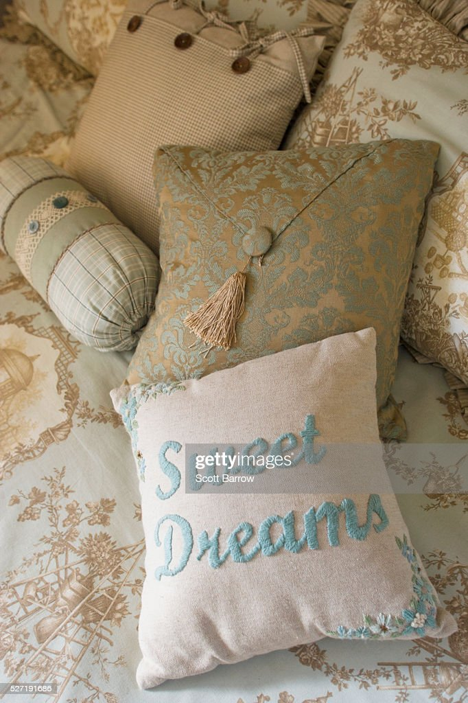 Pillows on a bed : Stock Photo