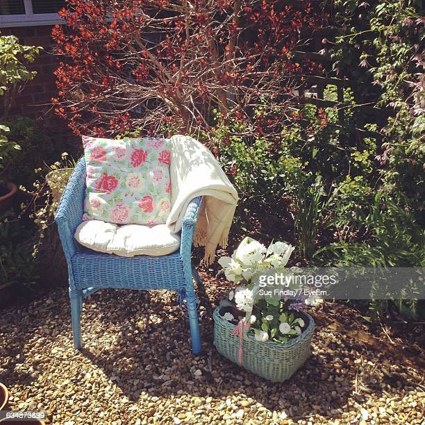 Pillows On Chair By Potted Plant In Yard