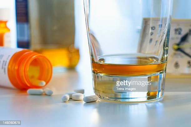 Pills and alcohol, studio shot