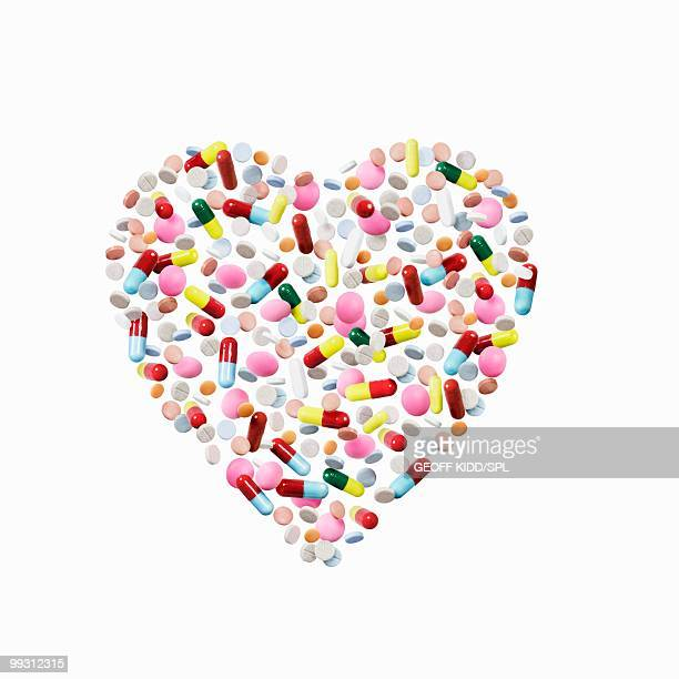 Pills and capsules in heart shape