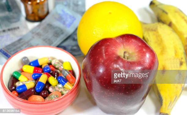 Pills and healthy food