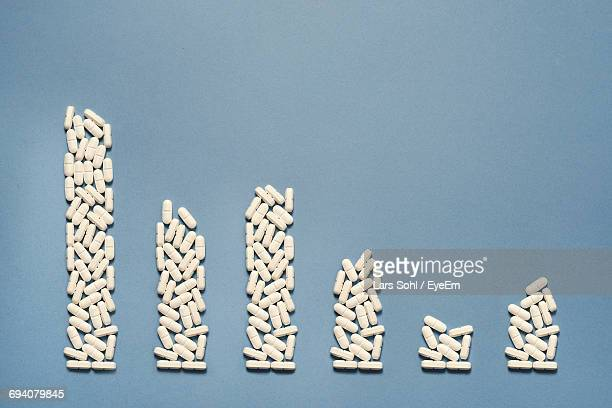 Pills Arranged At Bar Graph On Blue Background