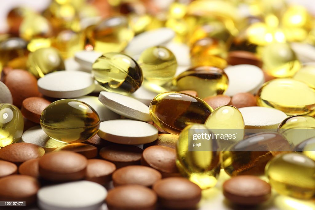 Pills, Capsules and tablets full frame : Stock Photo