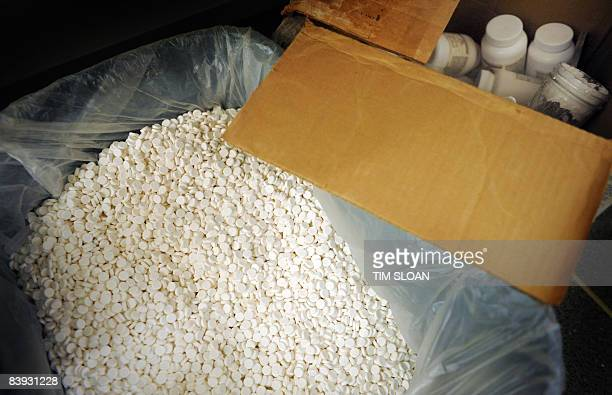 Pills in a large bag inside the mock methamphetamine lab at the new National Clandestine Laboratory Training and Research Facility December 5 2008 at...