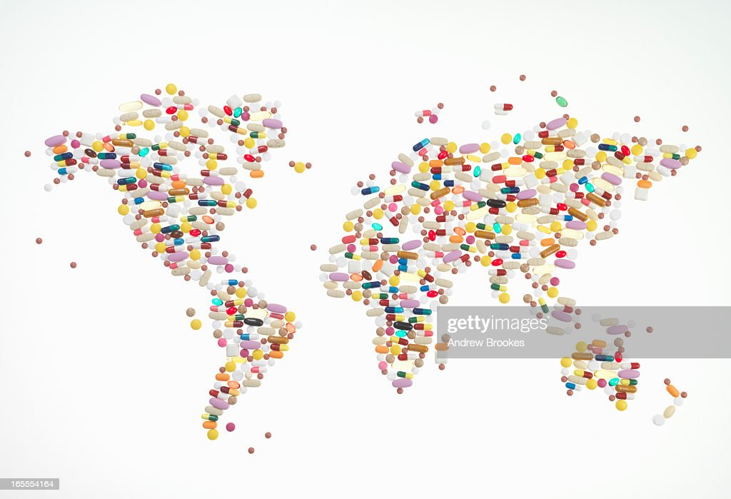 Pills In World Map Shape Stock Photo Getty Images - World map shape