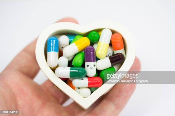 pills medicine with heart shape