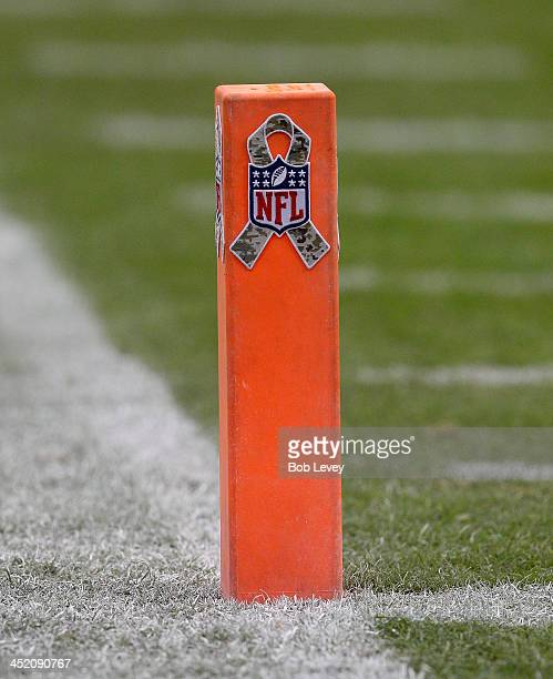Pilon displaying a military style NFL logo at Reliant Stadium on November 17, 2013 in Houston, Texas.