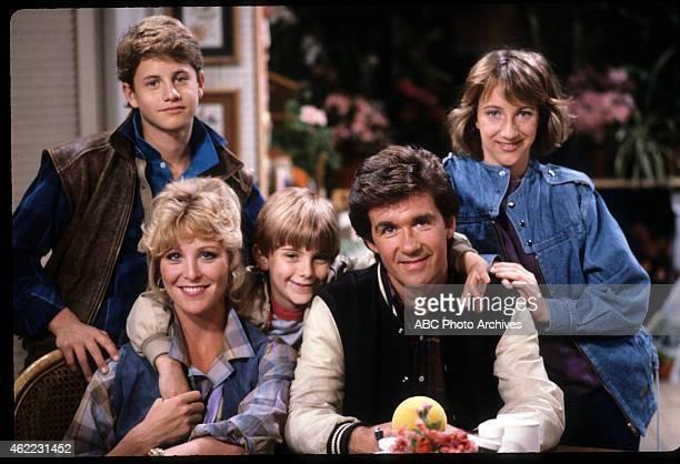 Pilot - Airdate: September 22, 1985. L-R: KIRK CAMERON;JOANNA KERNS;JEREMY MILLER;ALAN THICKE;ELIZABETH WARD
