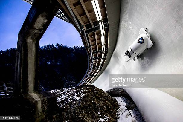Pilot Aleksandra Rodionova and her pusher Yulia Belomestnykh competes in her final bobsleigh run of the women's bobsleigh competition during the BMW...