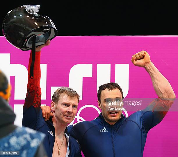 pilot Alexander Zubkov and Alexey Voevoda of Russia team 1 celebrate winning gold during the Men's TwoMan Bobsleigh on Day 10 of the Sochi 2014...