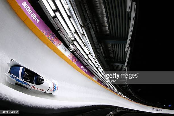 pilot Alexander Zubkov and Alexey Voevoda of Russia team 1 on their way to winning gold during the Men's TwoMan Bobsleigh on Day 10 of the Sochi 2014...