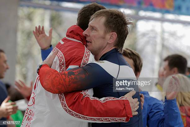 Pilot Alexander Zubkov of Russia team 1 celebrates winning the gold medal during the Men's FourMan Bobsleigh on Day 16 of the Sochi 2014 Winter...