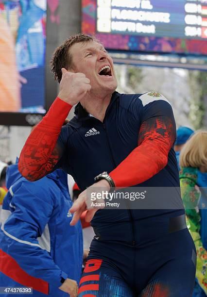 Pilot Alexander Zubkovof Russia team 1 celebrates winning the gold medal during the Men's FourMan Bobsleigh on Day 16 of the Sochi 2014 Winter...