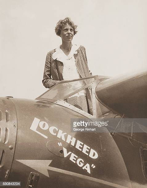Pilot Amelia Earhart famous transatlantic flier will pilot a Lockheed Vega airplane in the First National Women's Air Derby from Glover Field Santa...