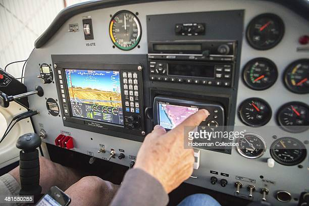 Pilot And View Of Instrument Panel In A Commercial Light Aircraft