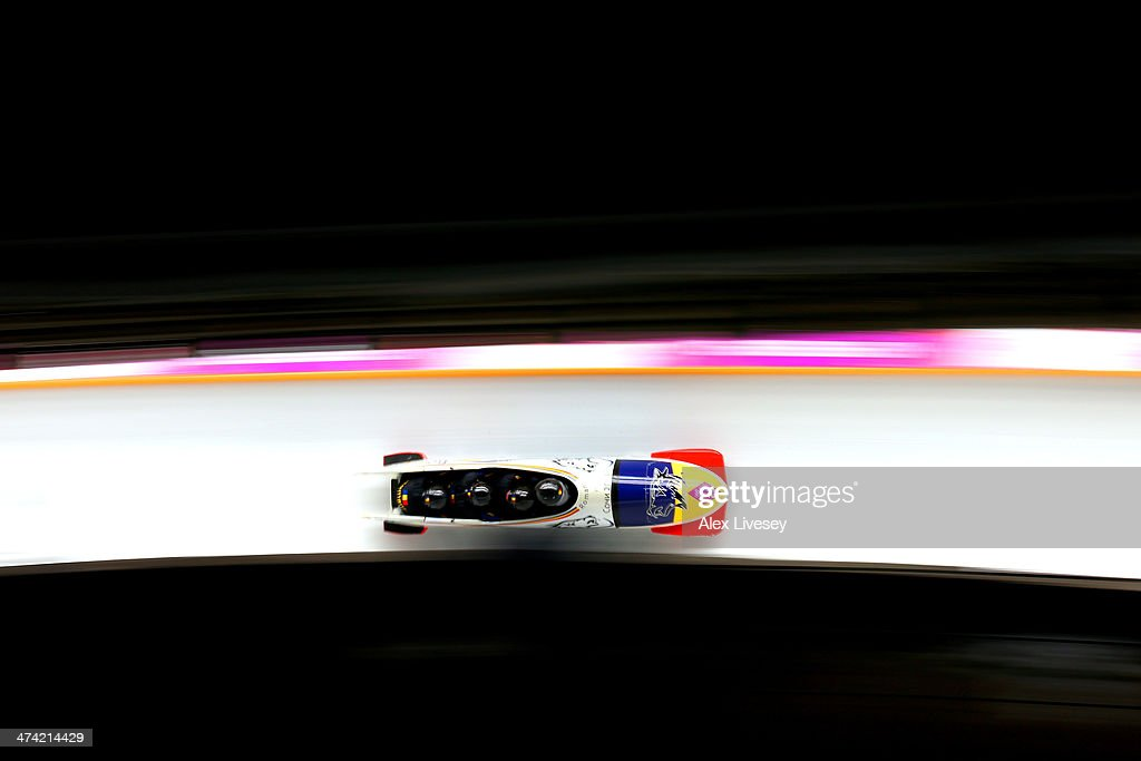 Pilot Andreas Neagu, Florin Craciun, Paul Muntean and Danut Moldovan of Romania team 1 make a run during the Men's Four Man Bobsleigh heats on Day 15 of the Sochi 2014 Winter Olympics at Sliding Center Sanki on February 22, 2014 in Sochi, Russia.