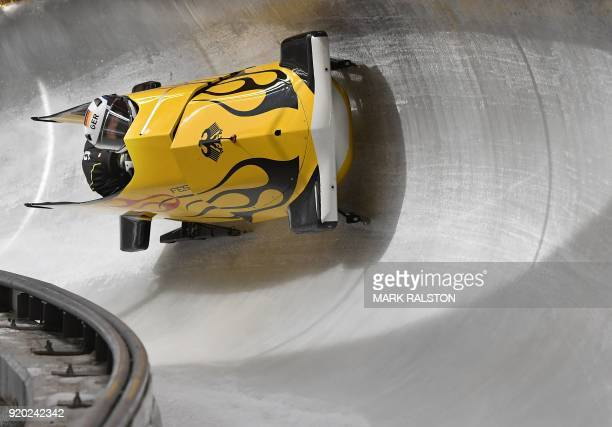 Pilot Anna Koehler of Germany corners in her 2woman bobsleigh training session at the Olympic Sliding Centre during the Pyeongchang 2018 Winter...