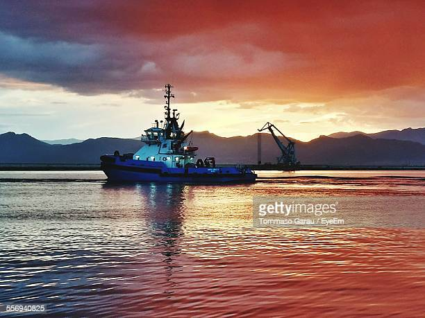 Pilot Boat Sailing In Sea During Sunset