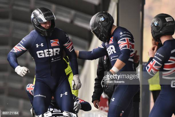Pilot Bradley Hall of Great Britain celebrates with Bruce Tasker Samuel Blanchet and Gregory Cackett in the 4man Bobsleigh during the BMW IBSF World...